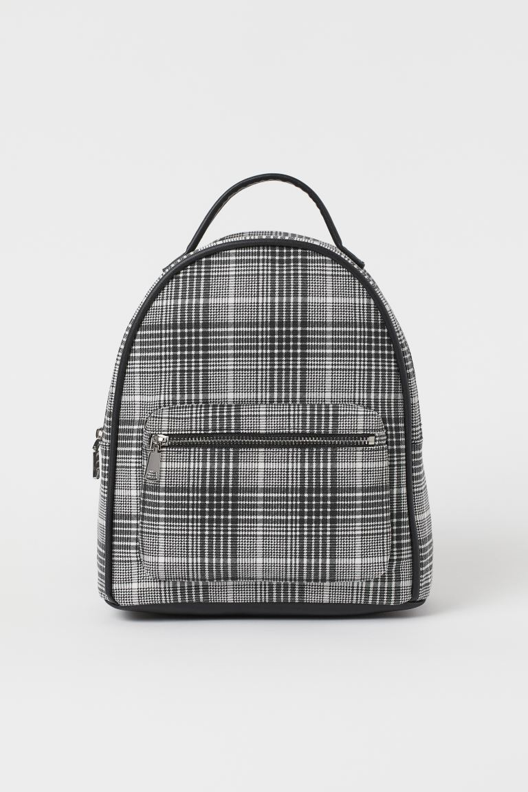 Small backpack - Black/White checked - Ladies | H&M GB
