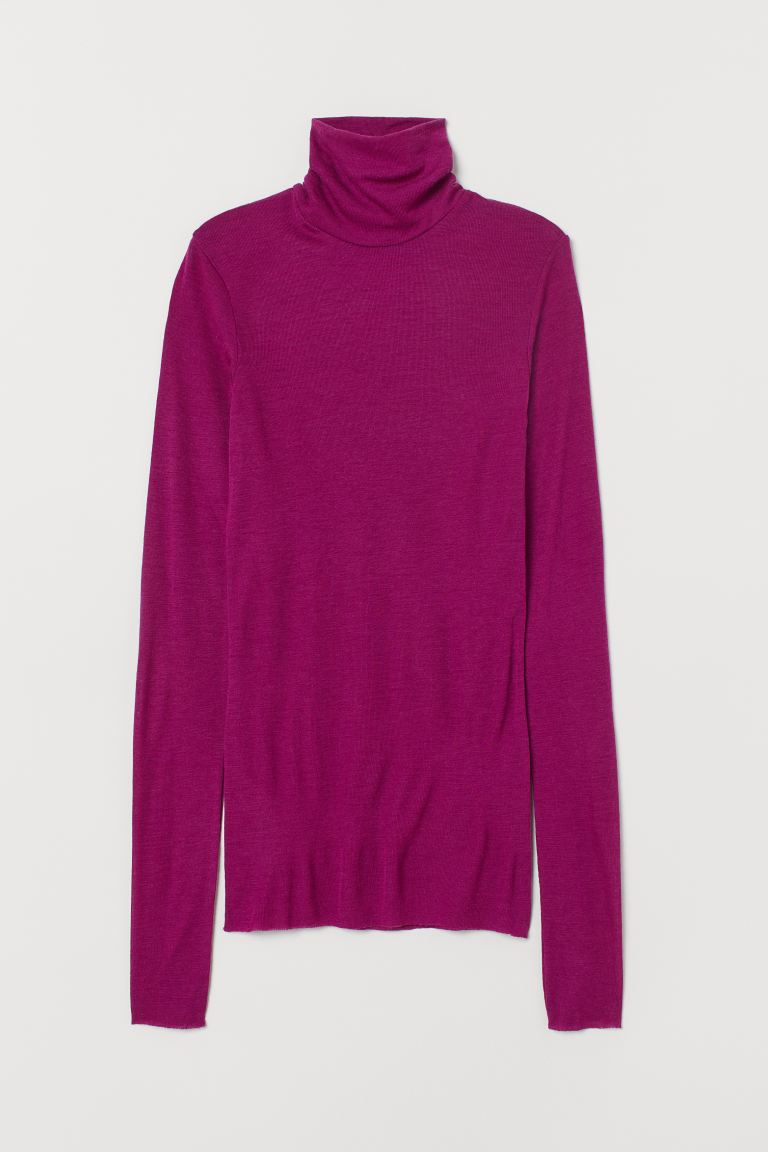 Cashmere-mix polo-neck jumper - Magenta - Ladies | H&M GB