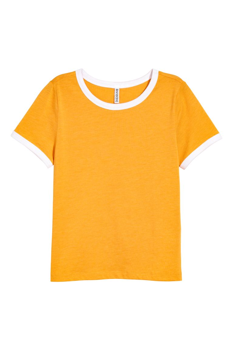 Short T-shirt - Mustard yellow - Ladies | H&M GB