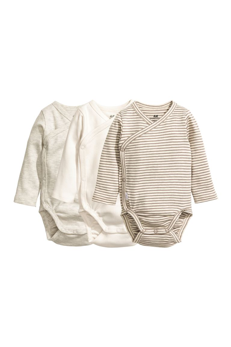 3-pack wrapover bodysuits - Mole - Kids | H&M GB