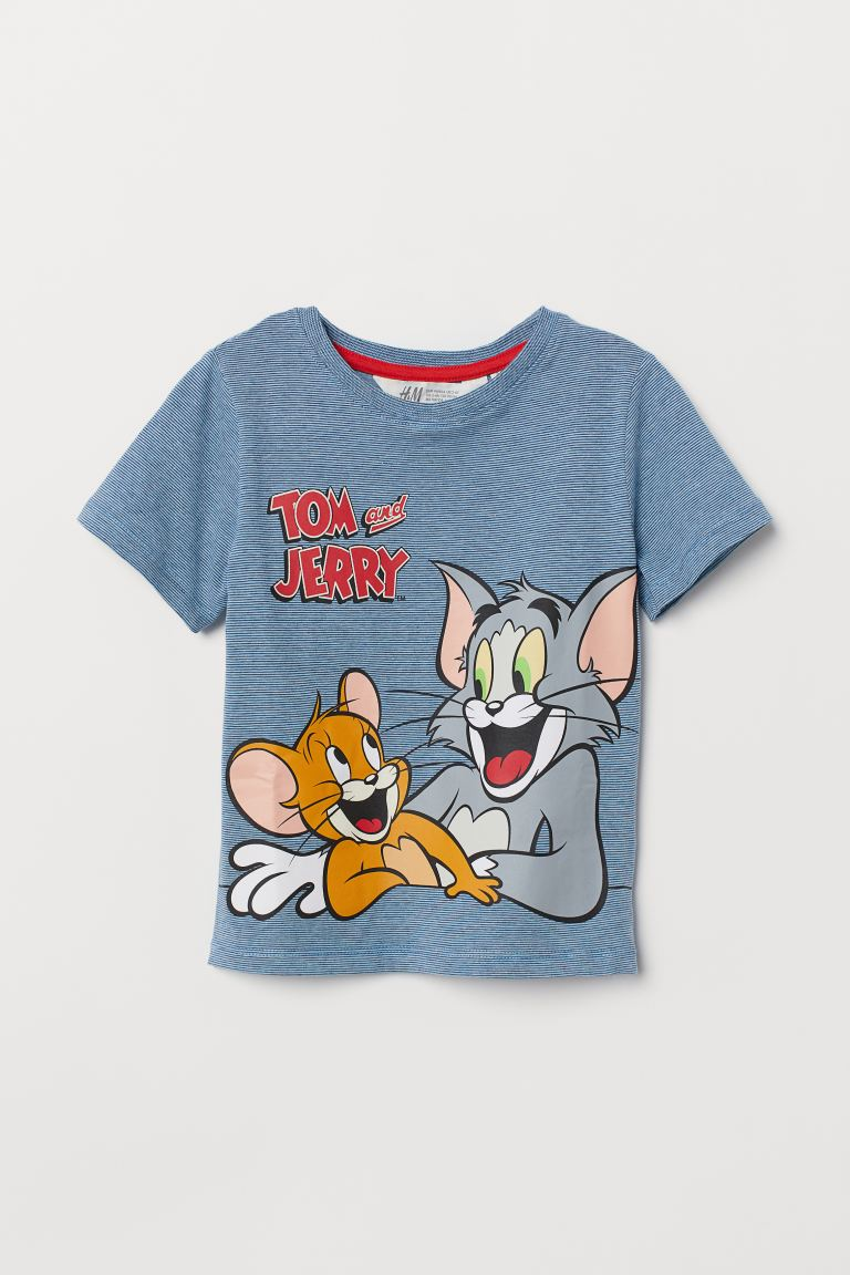 T Shirt With Printed Design Blue Tom And Jerry Kids H M Us