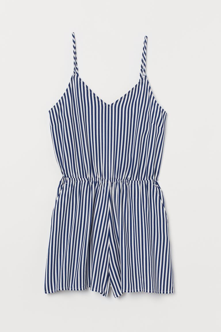 V-neck playsuit - Dark blue/White striped - Ladies | H&M GB