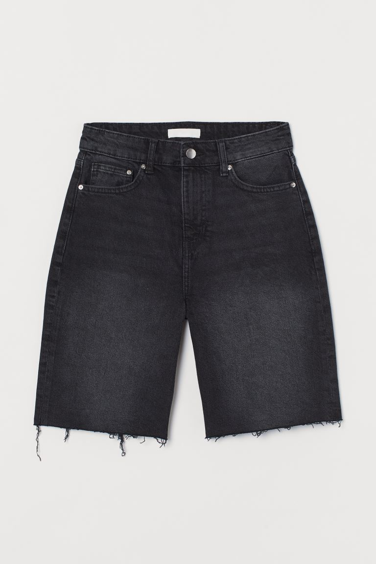 Denim shorts High Waist - Black/Washed out - Ladies | H&M GB