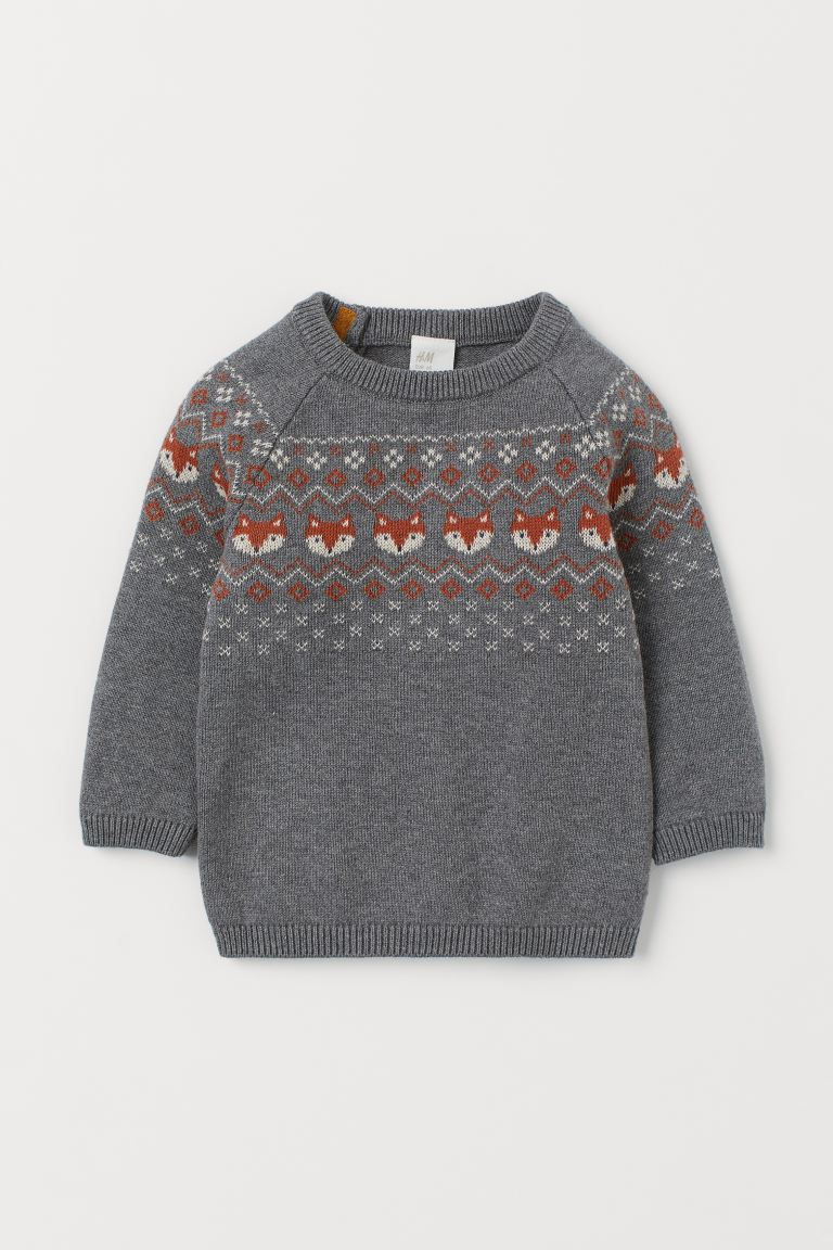 Jacquard-knit cotton jumper - Grey/Foxes - Kids | H&M GB