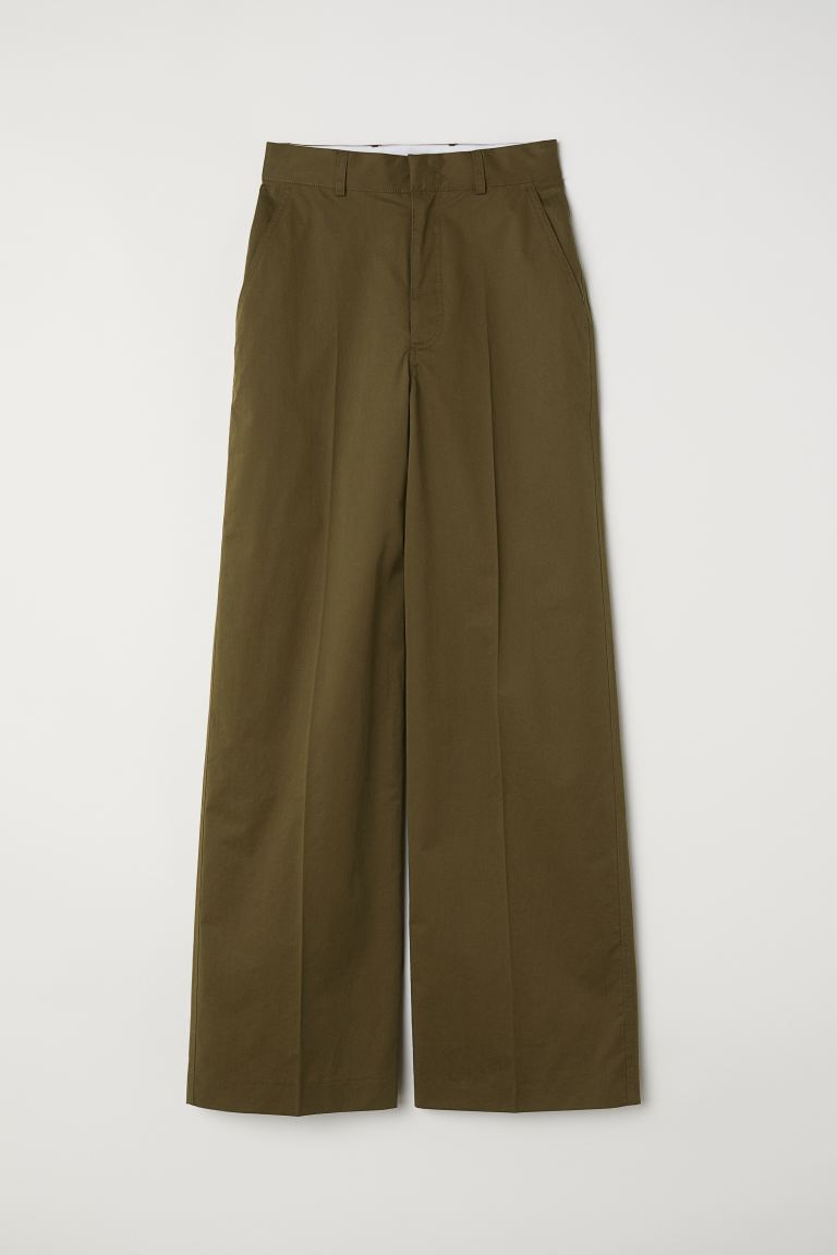 Wide trousers - Khaki green - Ladies | H&M GB