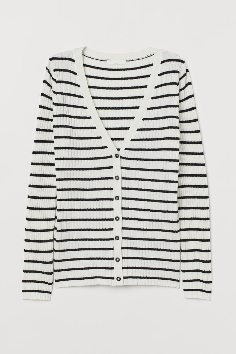 Ribbed cardigan - White/Striped - Ladies | H&M IN