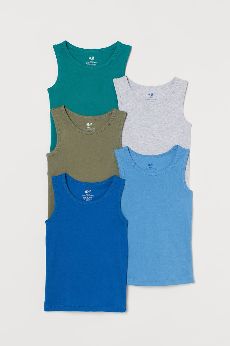 5-pack Cotton Tank Tops - Turquoise/khaki green - Kids | H&M CA