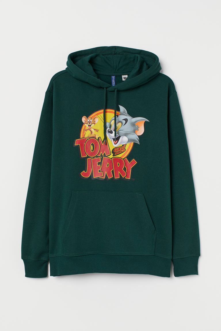 Printed Hoodie Green Tom And Jerry Men H M Us