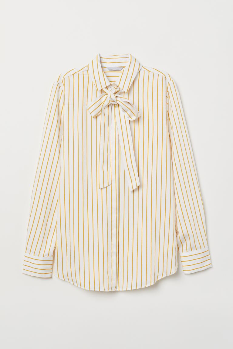 Tie-front Blouse - White/yellow striped - Ladies | H&M US