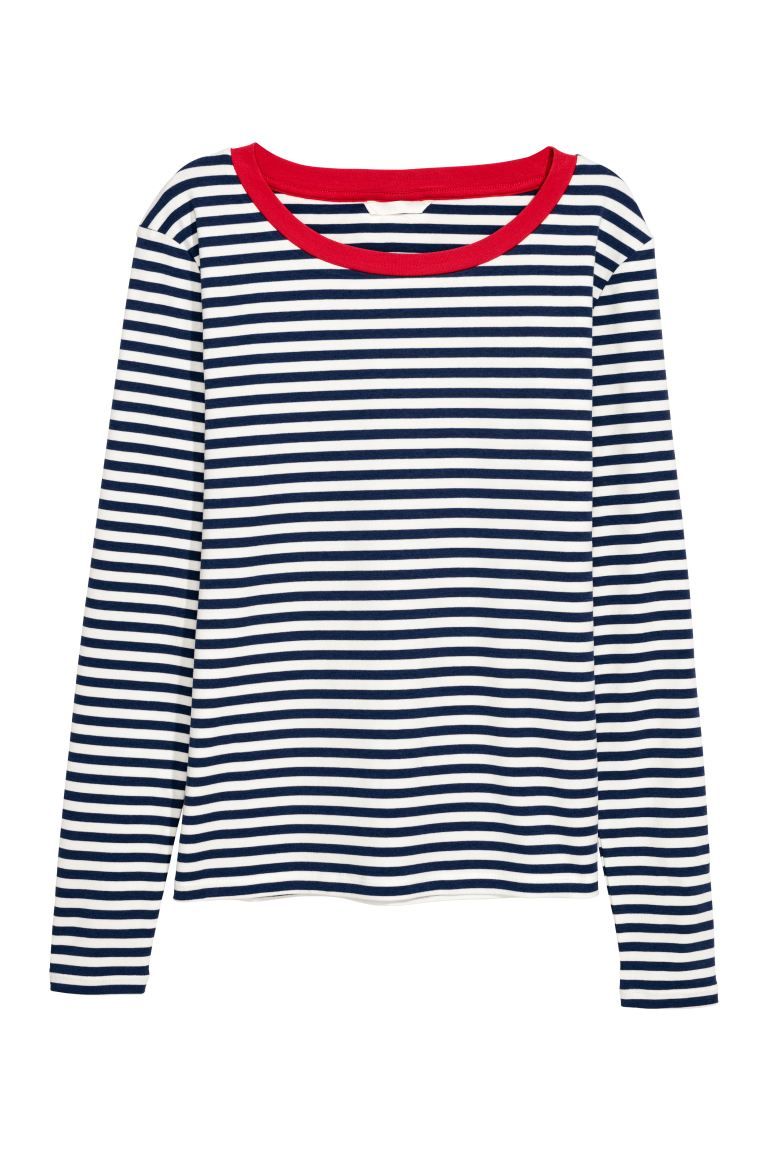 Striped jersey top - Dark blue/White striped - Ladies | H&M GB