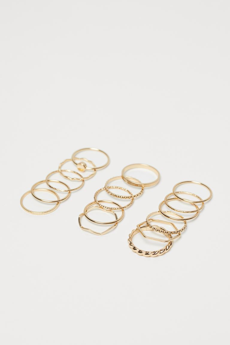 16-pack Rings - Gold-colored - Ladies | H&M CA
