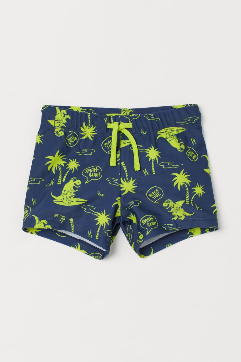 Patterned Swim Trunks - Navy blue/dinosaurs - Kids | H&M US