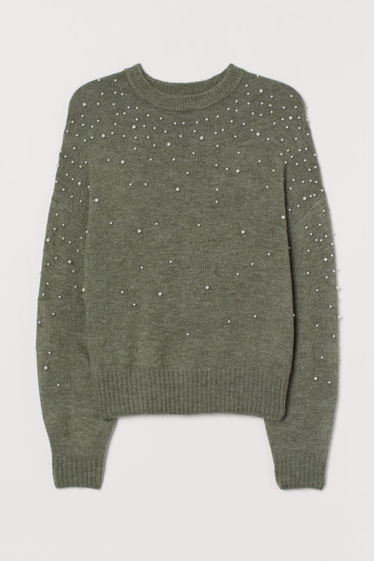 Knit Sweater with Beads - Khaki green - Ladies | H&M US