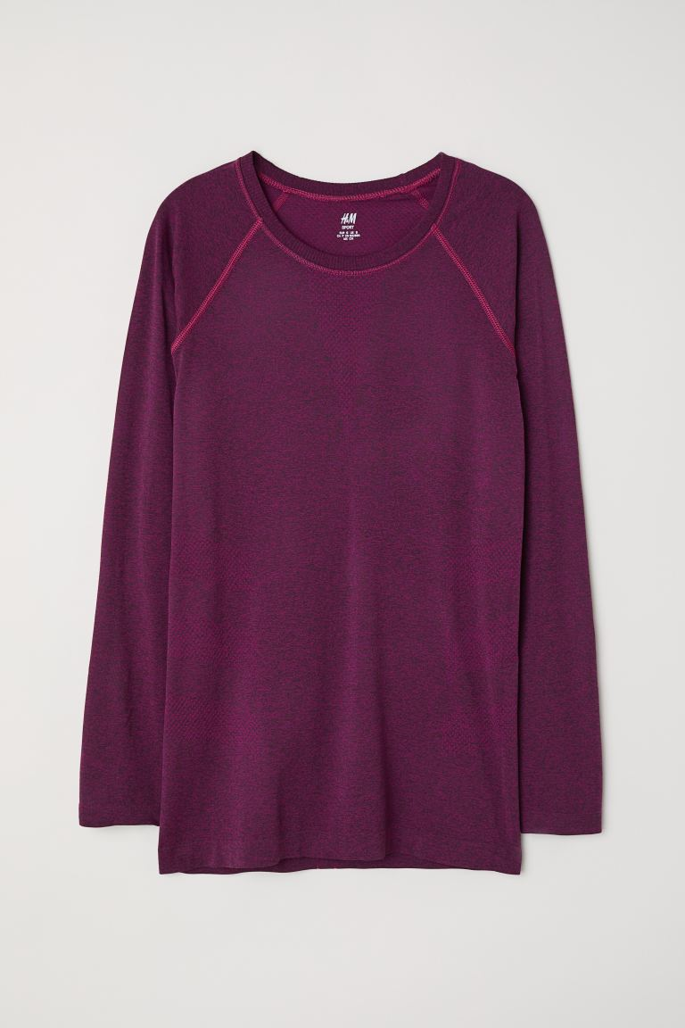 Seamless sports top - Dark pink marl - Ladies | H&M GB