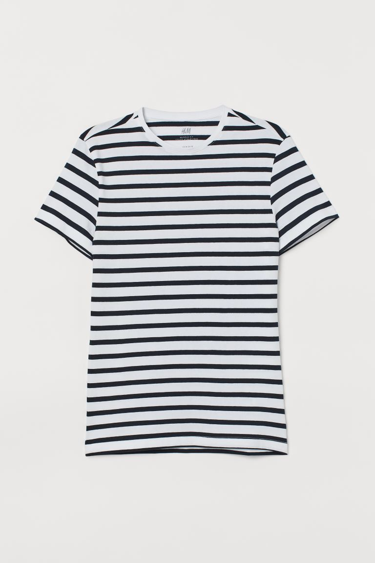 Camiseta Muscle Fit - Blanco/Rayas - HOMBRE | H&M ES