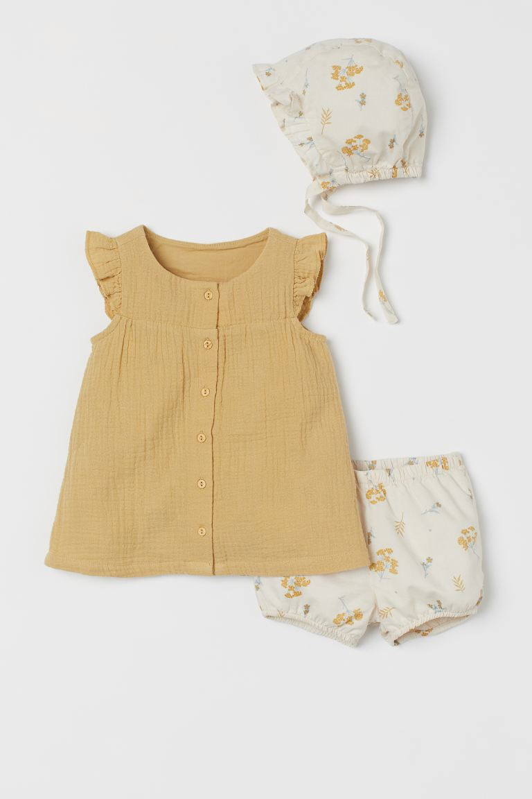 3-piece Cotton Set - Yellow-beige/floral - Kids | H&M CA