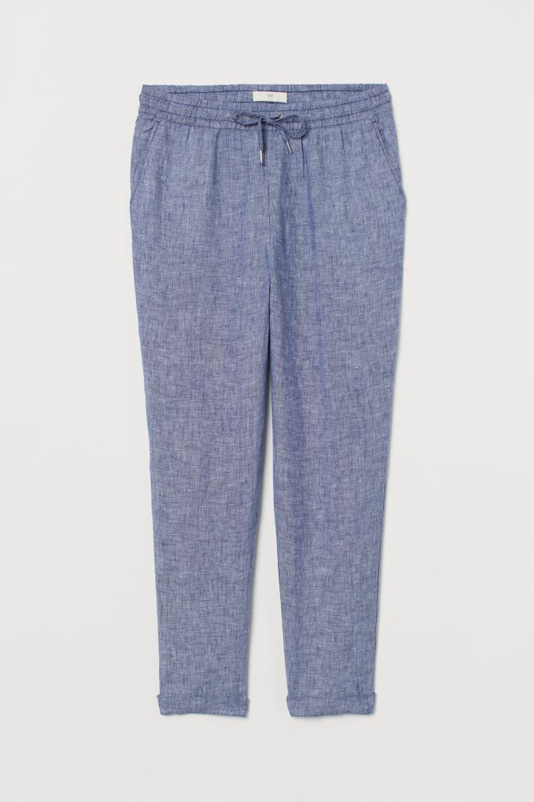 Joggers de lino - Azul oscuro/Cambray - Ladies | H&M MX