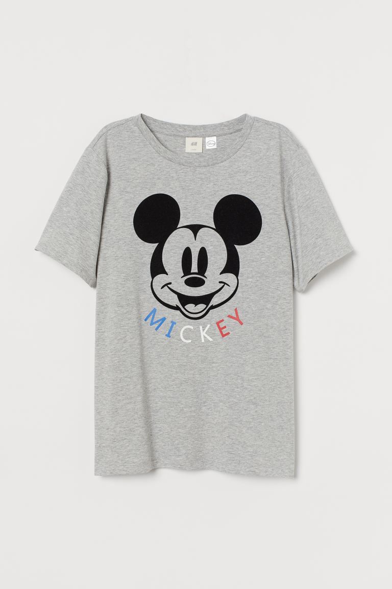 Playera con diseño - Gris jaspeado/Mickey Mouse - Ladies | H&M MX