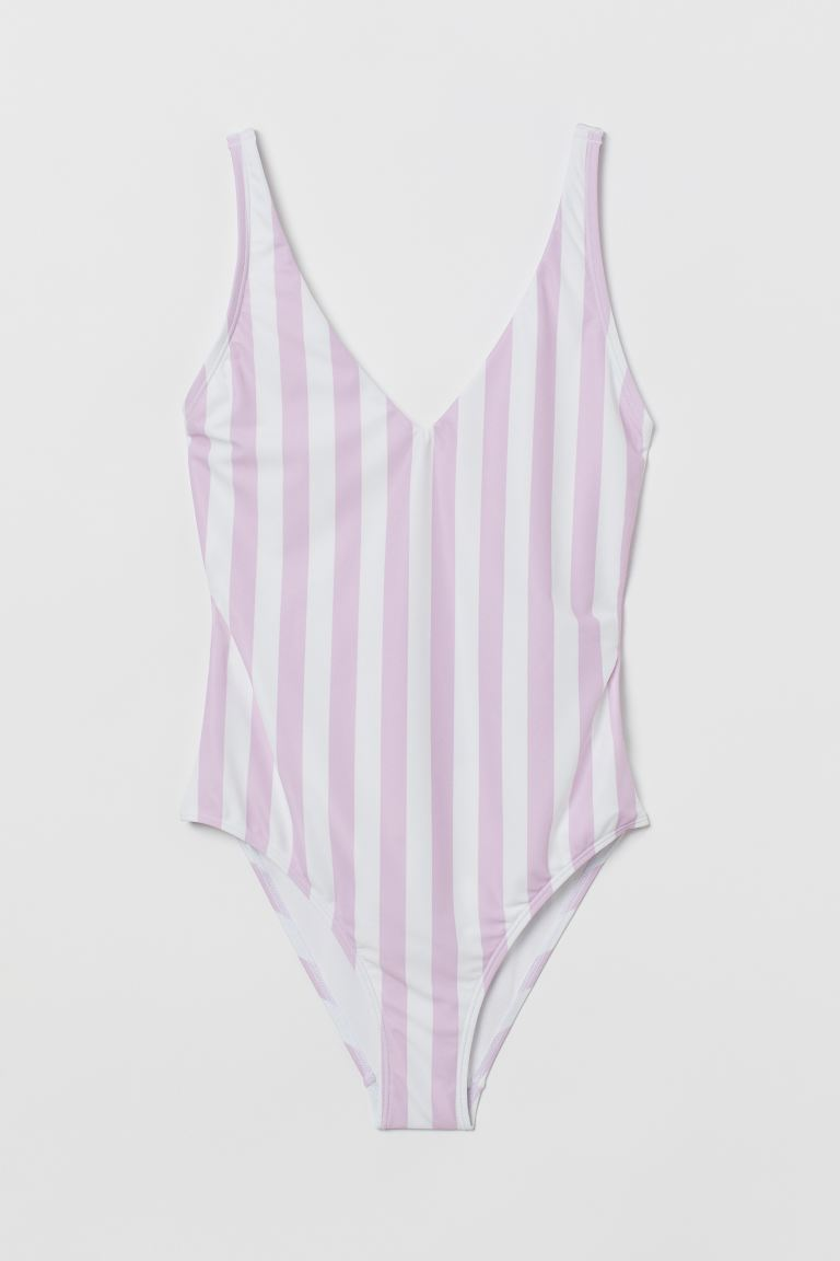 Back-laced swimsuit - Lavender/White striped - Ladies | H&M