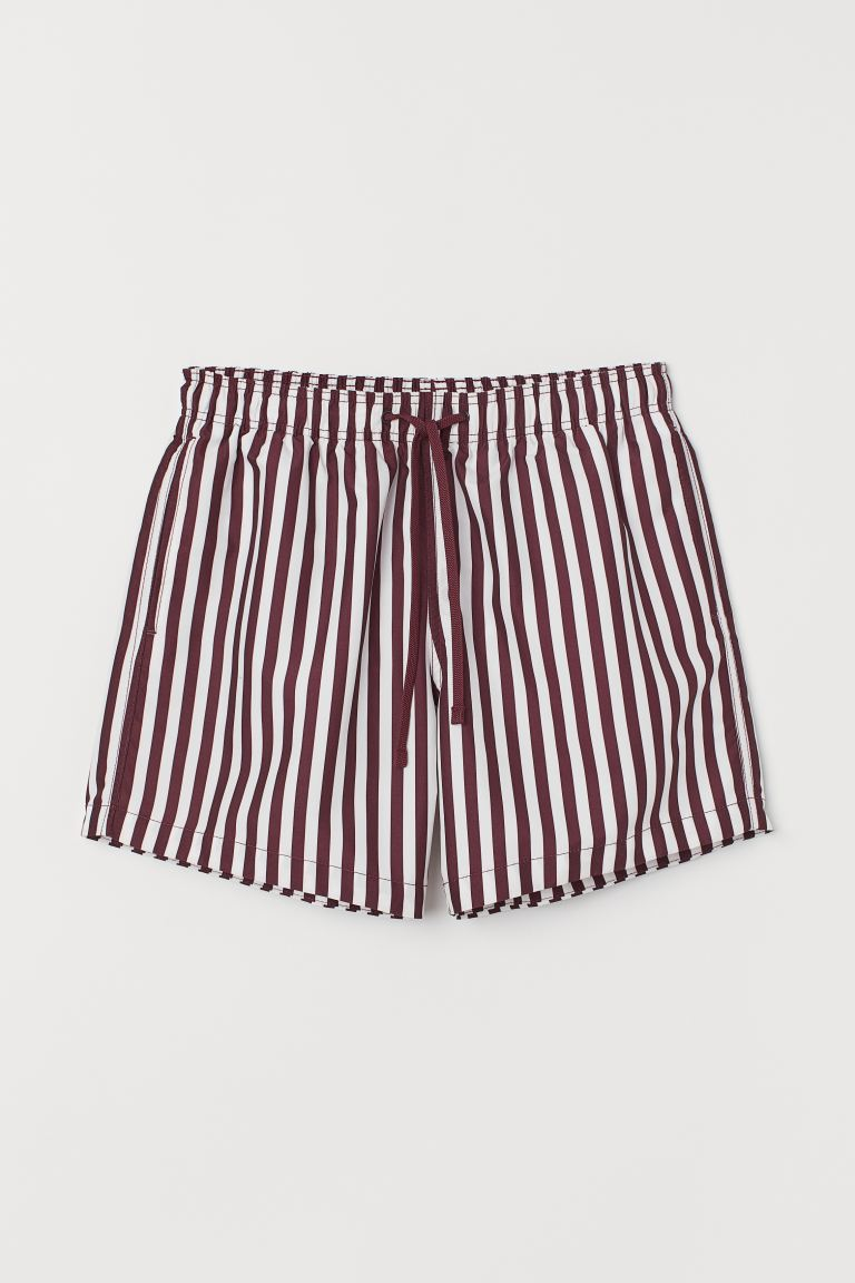 Printed Swim Shorts - Burgundy/white striped - Men | H&M US