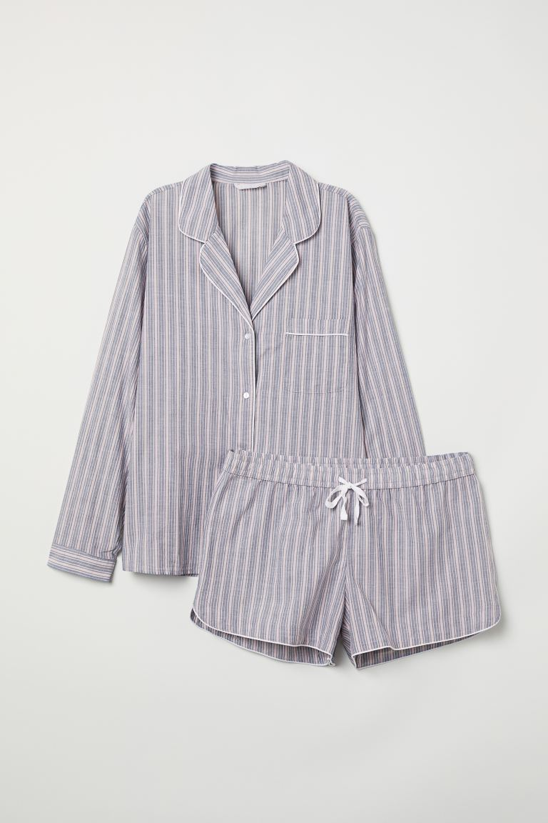 Pyjama shirt and shorts - Dark blue/Pink striped - Ladies | H&M GB