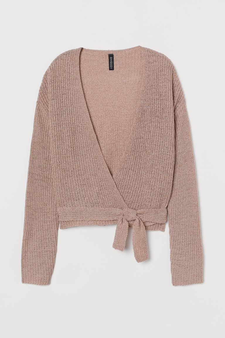Short Wrapover Cardigan - Powder pink - Ladies | H&M US