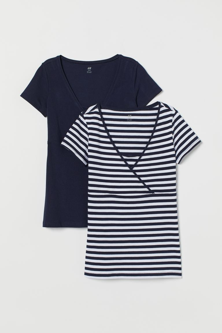 MAMA 2-pack Nursing Tops - Dark blue/white striped - Ladies | H&M US