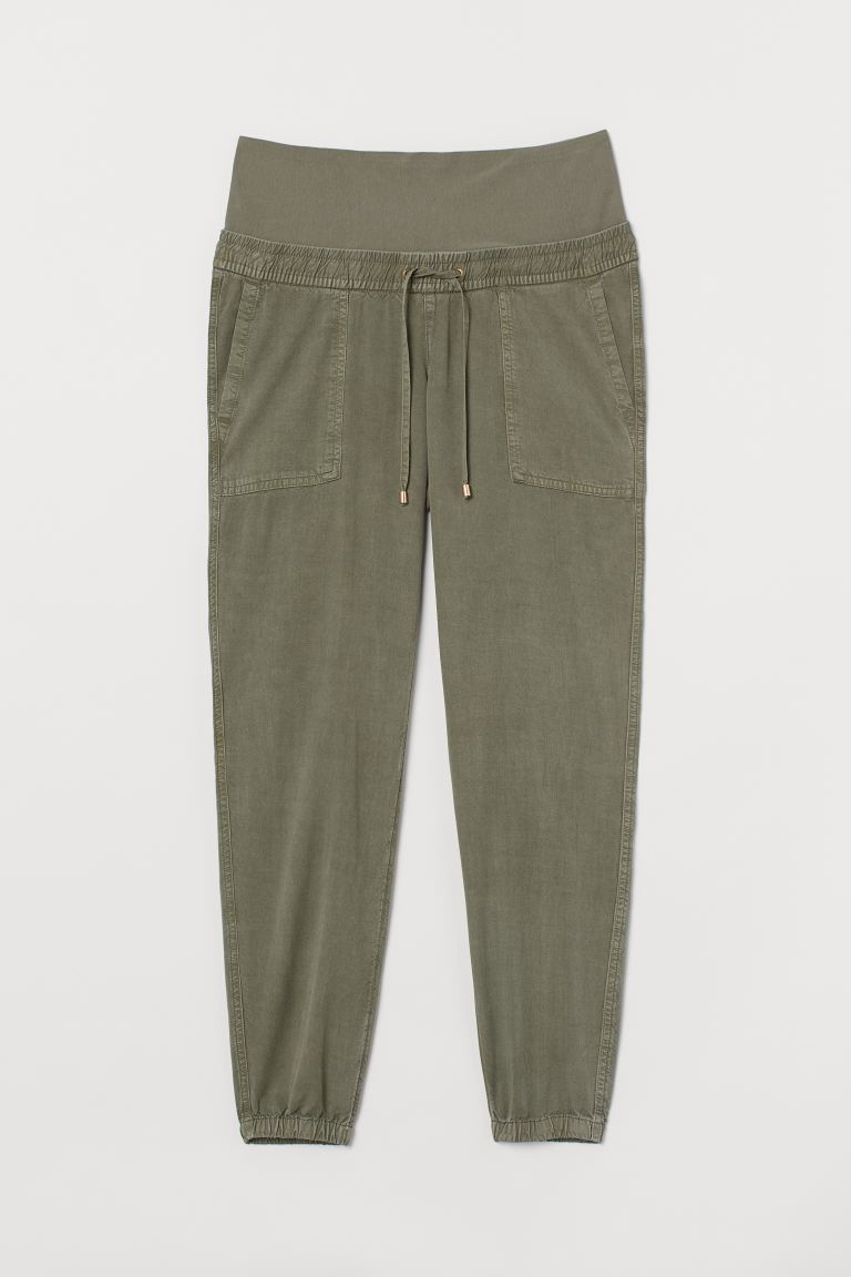 MAMA Lyocell-blend joggers - Khaki green - Ladies | H&M IE