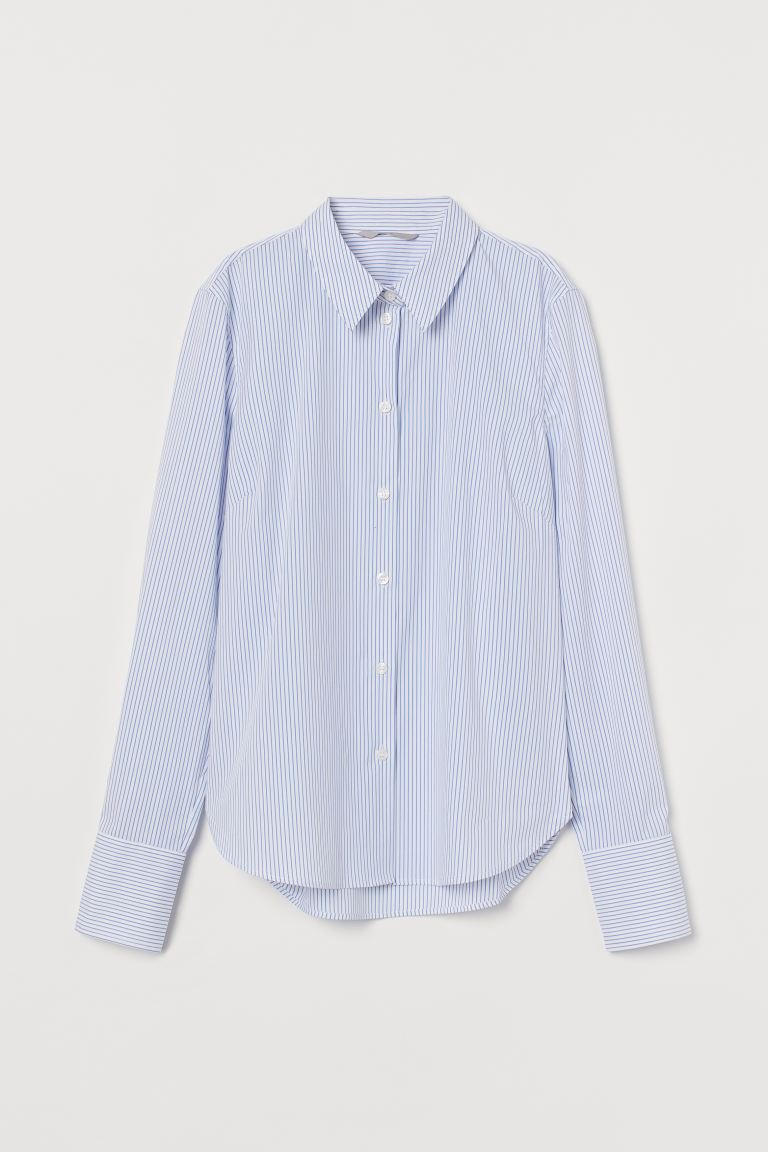 Chemise extensible - Blanc/rayures bleues - FEMME | H&M FR