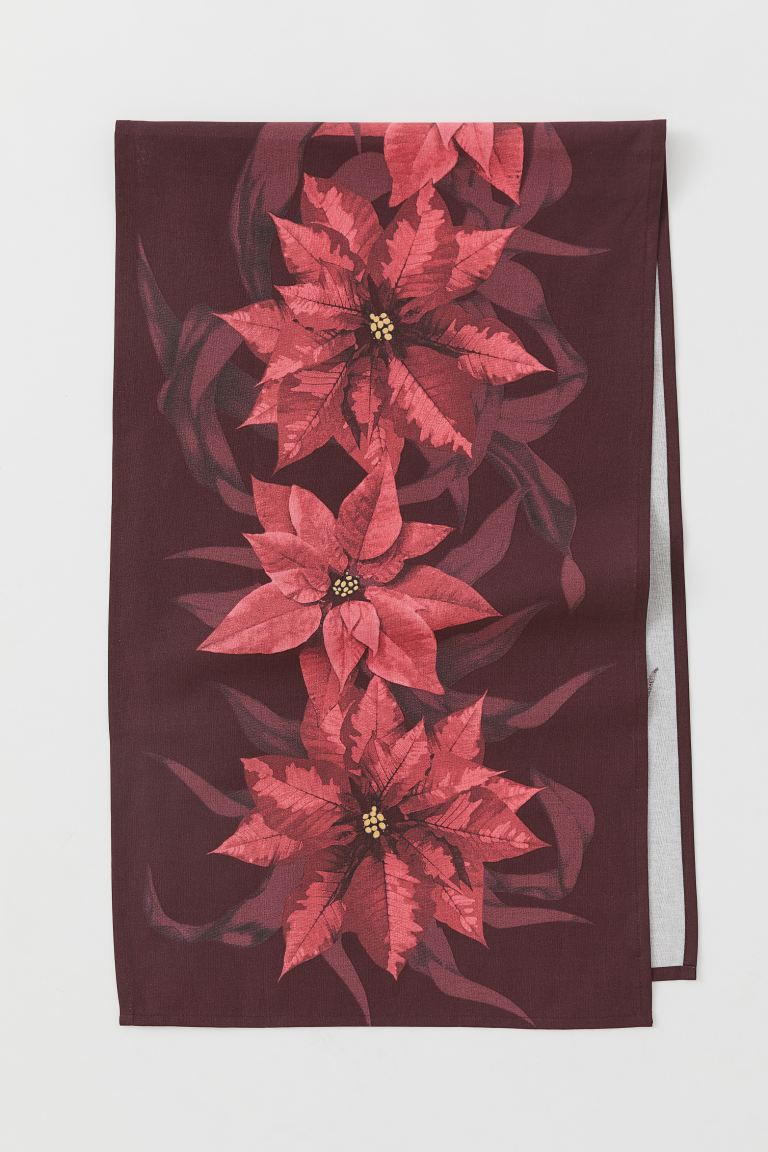 Patterned Cotton Table Runner - Red/poinsettias - Home All | H&M US
