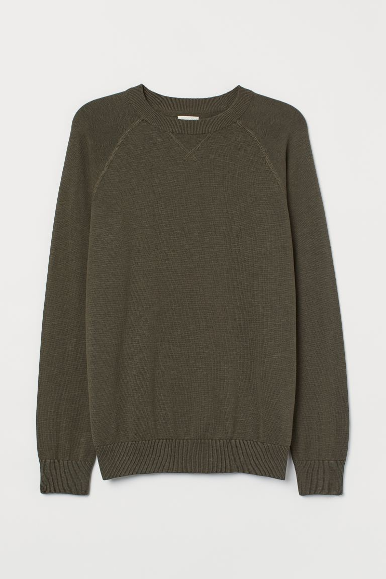 Cotton Raglan-sleeved Sweater - Dark khaki green - Men | H&M US