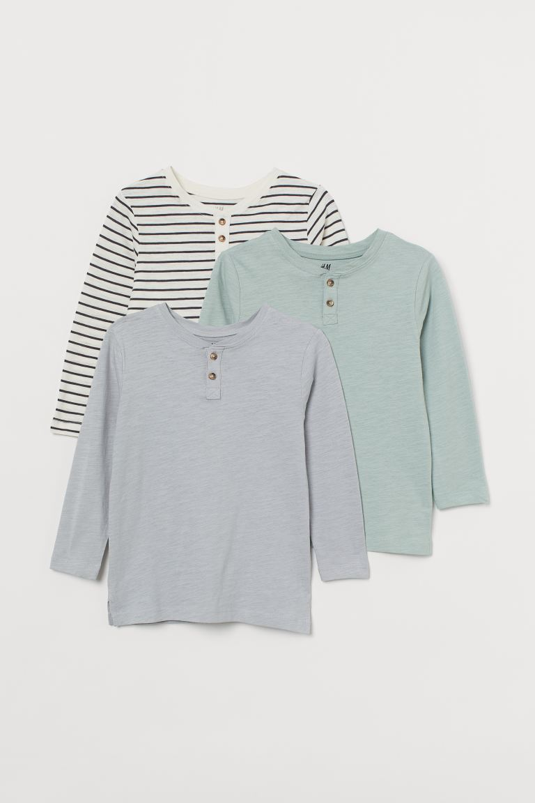 3-pack Henley tops - White/Striped - Kids | H&M GB
