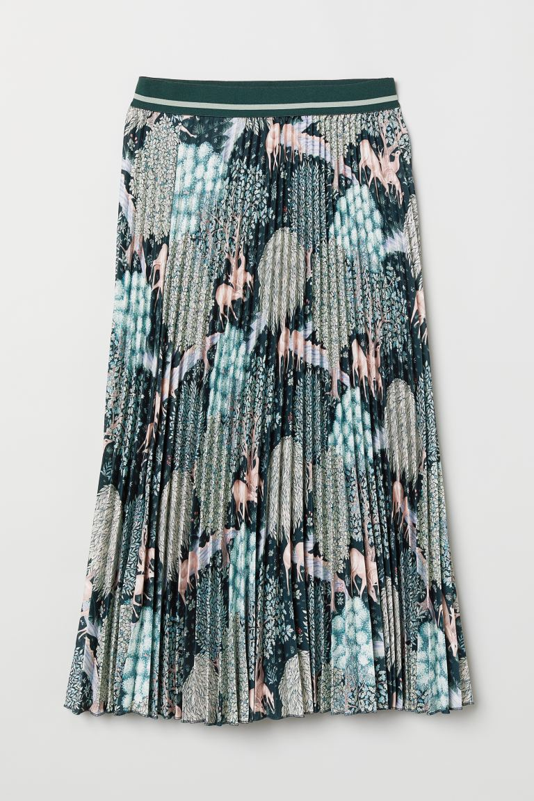 Pleated skirt - Turquoise/Patterned - Ladies | H&M GB