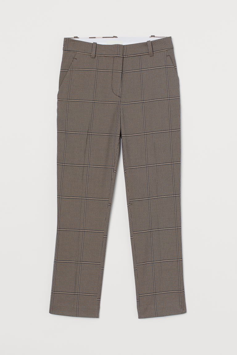 Cigarette trousers - Beige/Checked - Ladies | H&M GB