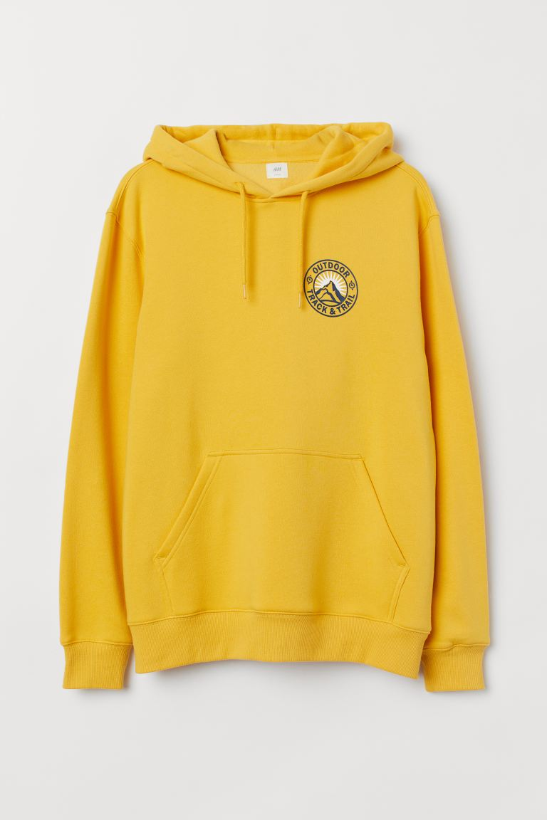 Sudadera estampada con gorro - Amarillo/Outdoor - Men | H&M US