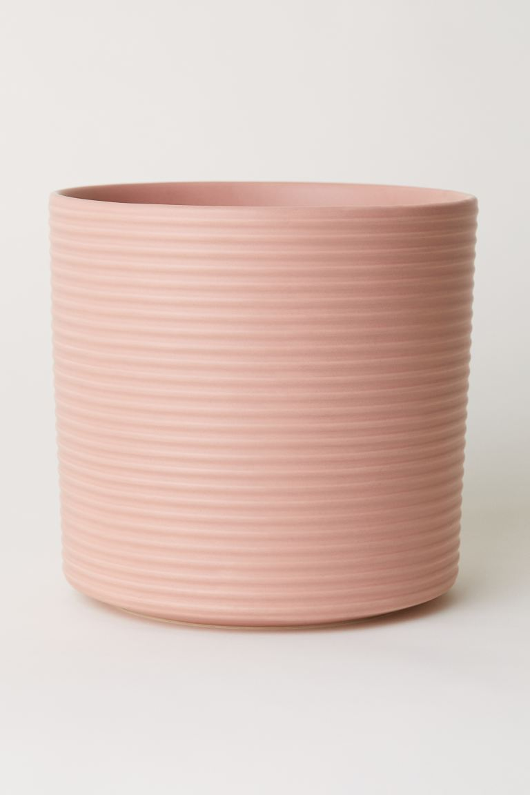 Large stoneware plant pot - Pink - Home All | H&M GB