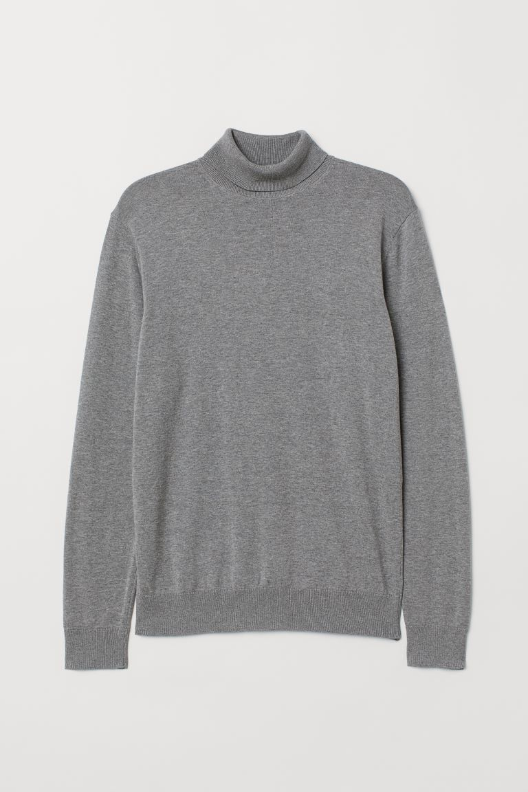 Premium cotton polo-neck - Grey marl - Men | H&M