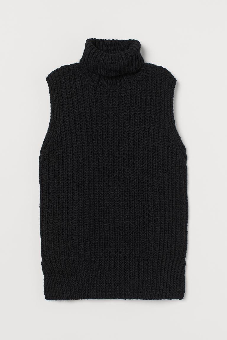 Sleeveless Turtleneck Sweater - Black - Ladies | H&M US 5