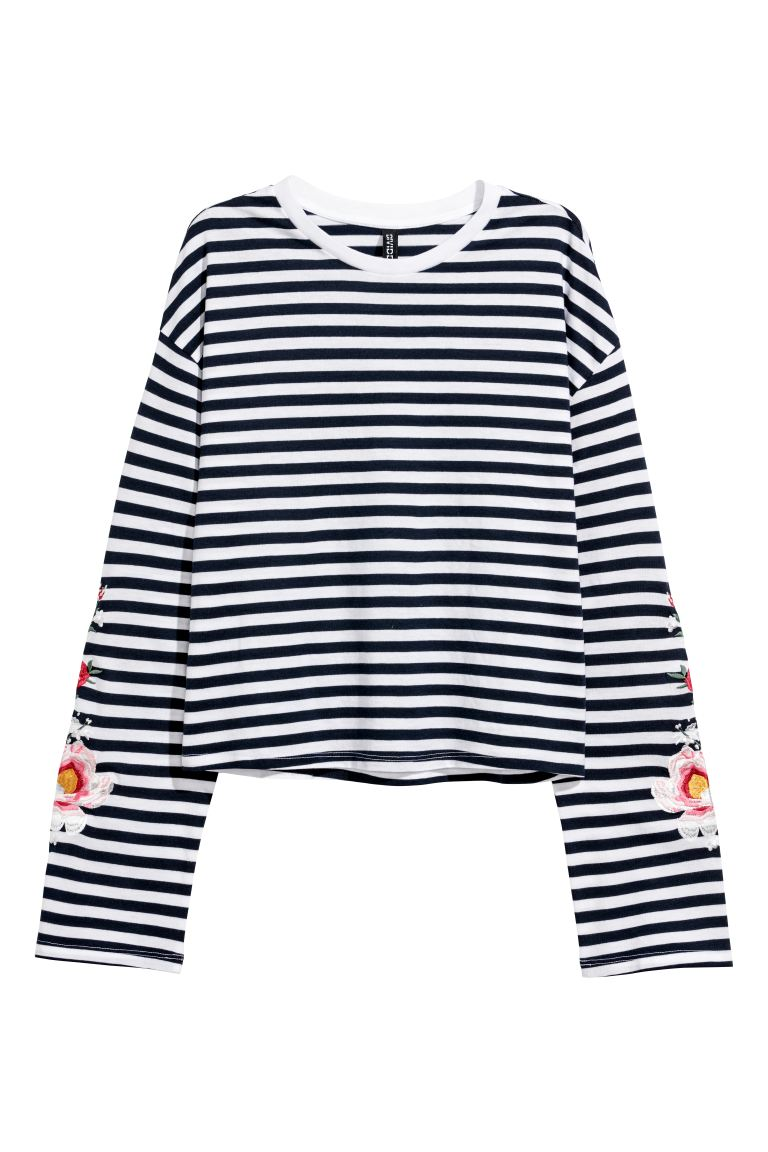 Jersey Top with Embroidery - Dark blue/striped - Ladies | H&M CA
