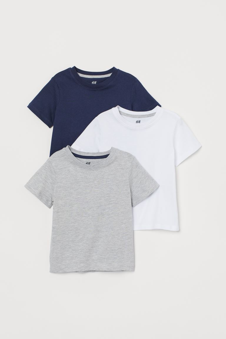 3-pack T-shirts - Light gray melange - Kids | H&M US