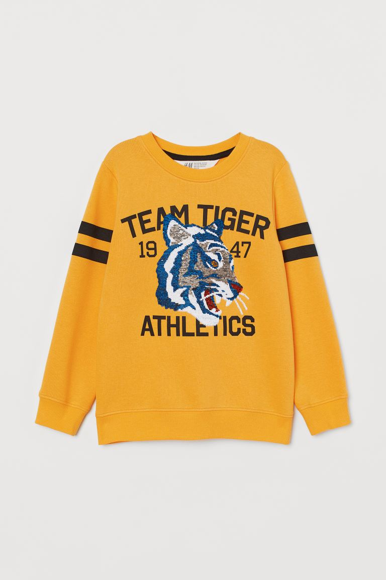 Sweatshirt mit Wendepailletten - Gelb/Team Tiger - Kids | H&M DE