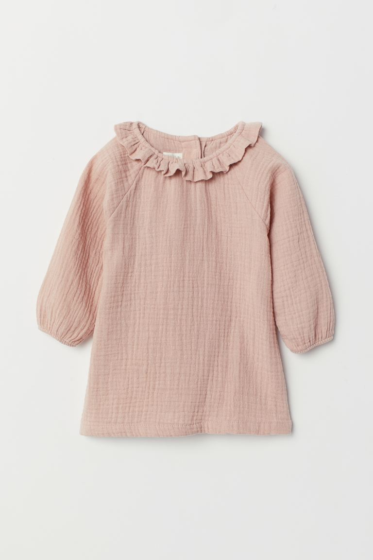 Crinkled Cotton Dress - Powder pink - Kids | H&M US