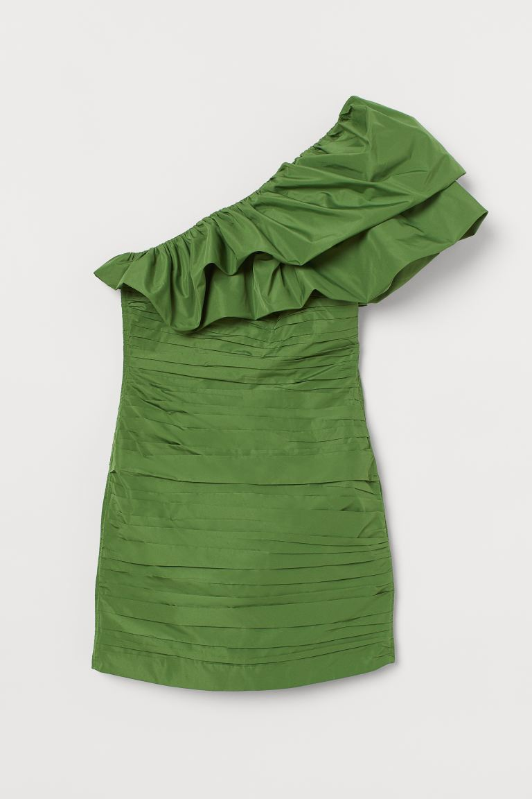 Draped one-shoulder dress - Green - Ladies | H&M GB
