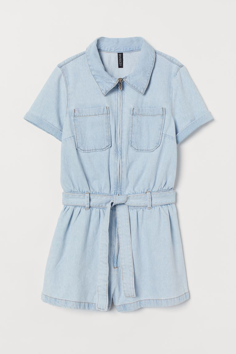Denim playsuit - Light denim blue - Ladies | H&M