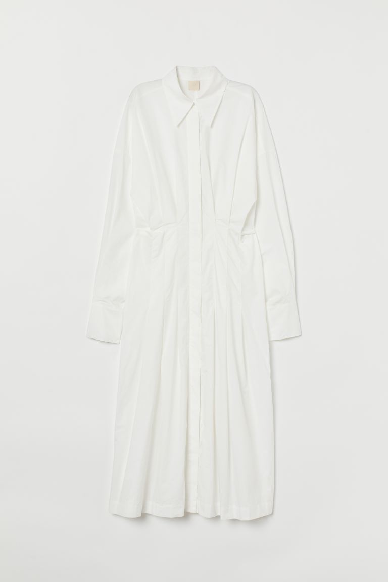 Cotton Poplin Shirt Dress - White - Ladies | H&M CA