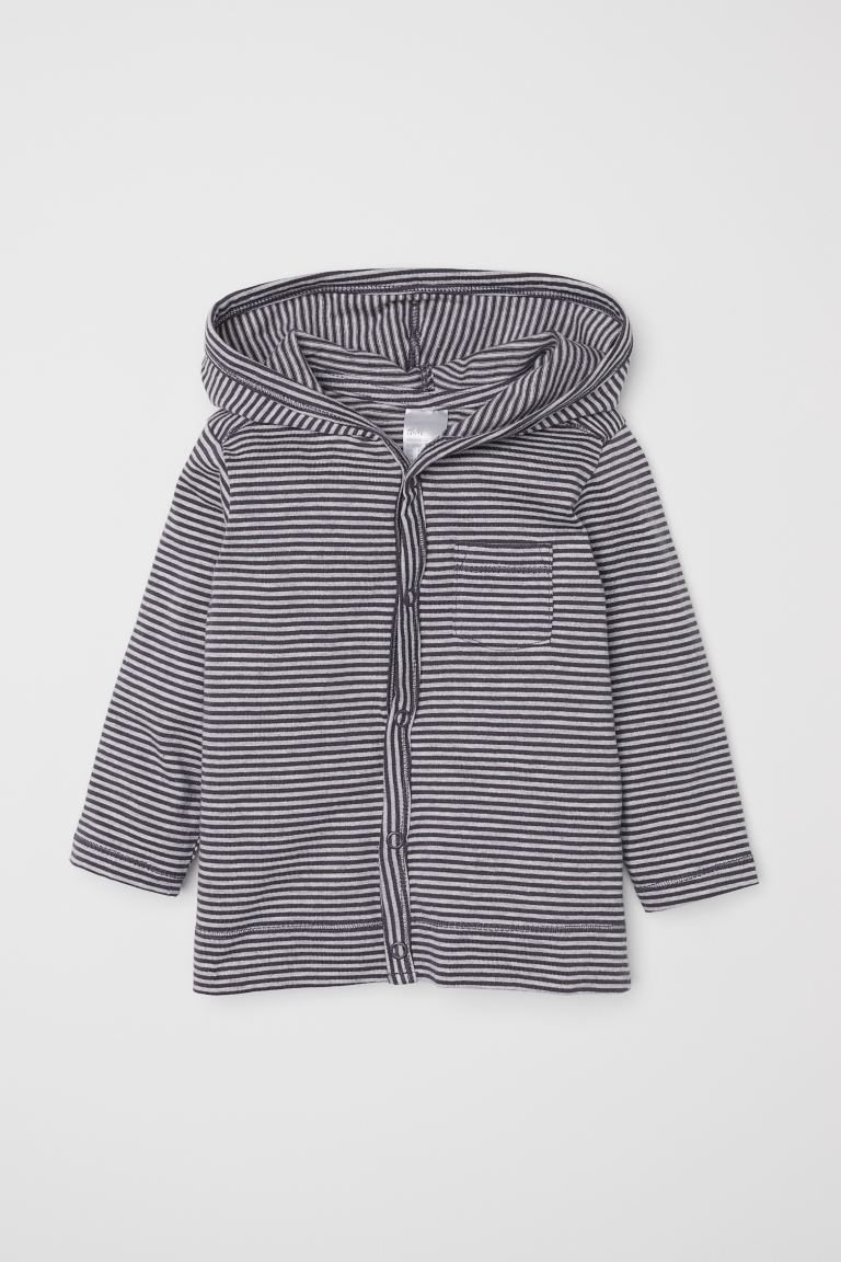 Jersey hooded cardigan - Grey/Striped - Kids | H&M