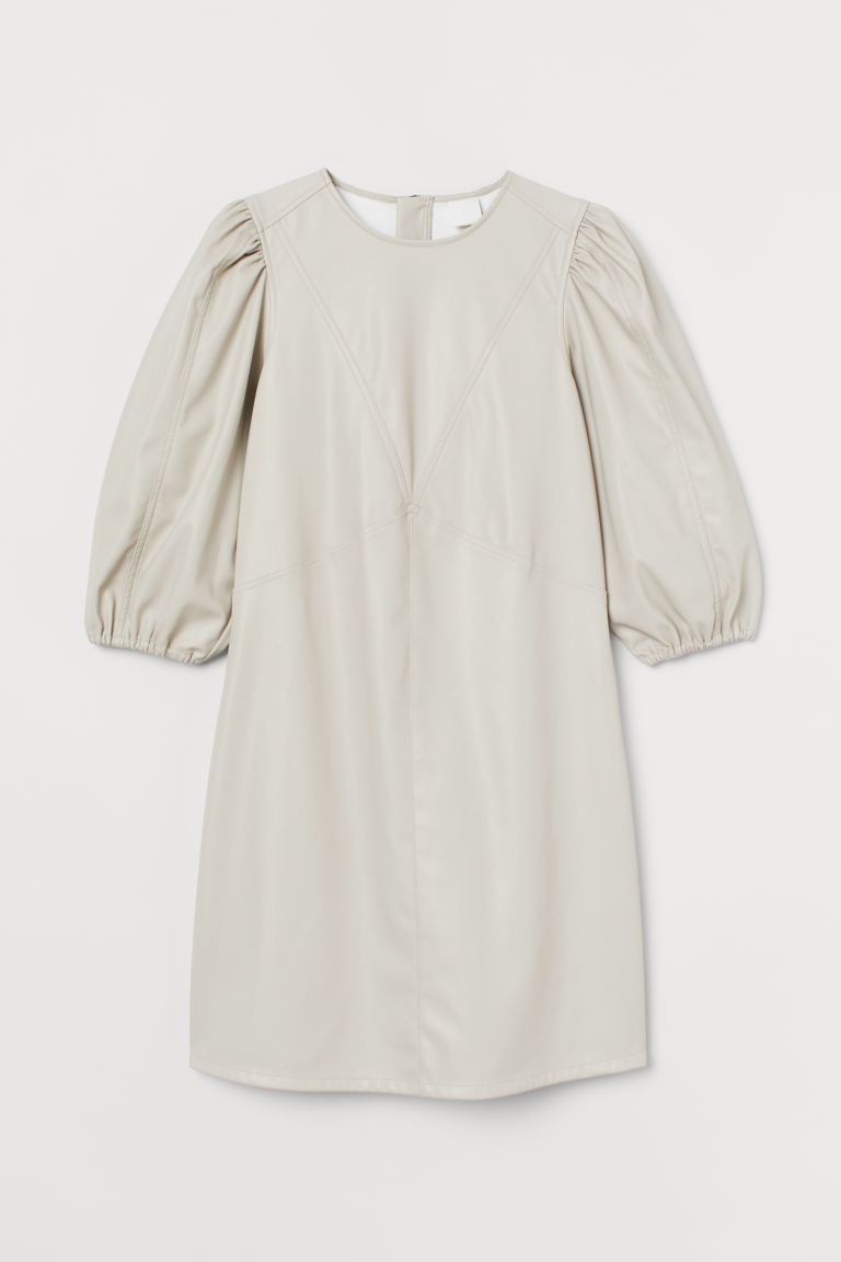 Faux Leather Dress - Light beige - Ladies | H&M US