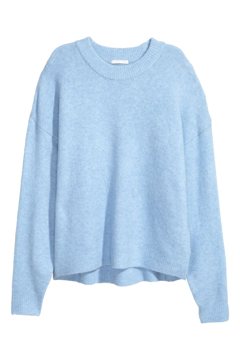 Fine-knit jumper - Light blue marl - Ladies | H&M GB
