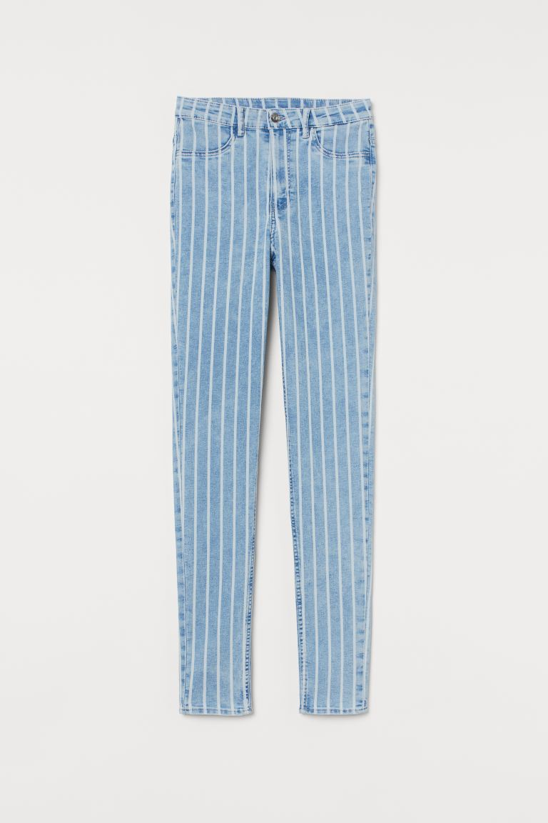 Super Skinny High Jeans - Light denim blue/Striped - Ladies | H&M