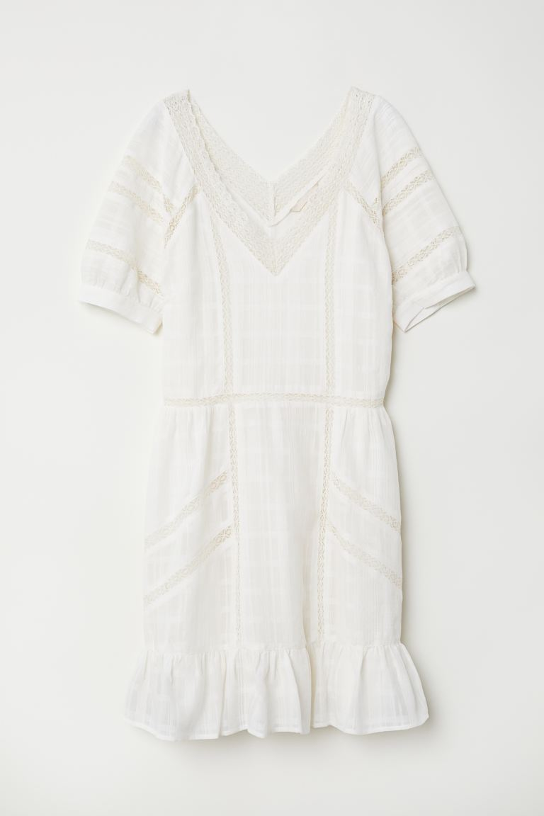 V-neck cotton dress - Natural white - Ladies | H&M GB